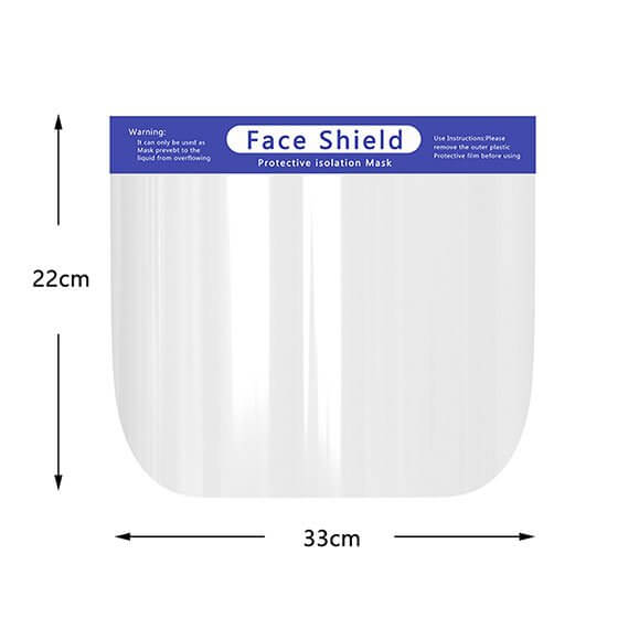 Face shield dimensions 22cm high by 33cm wide