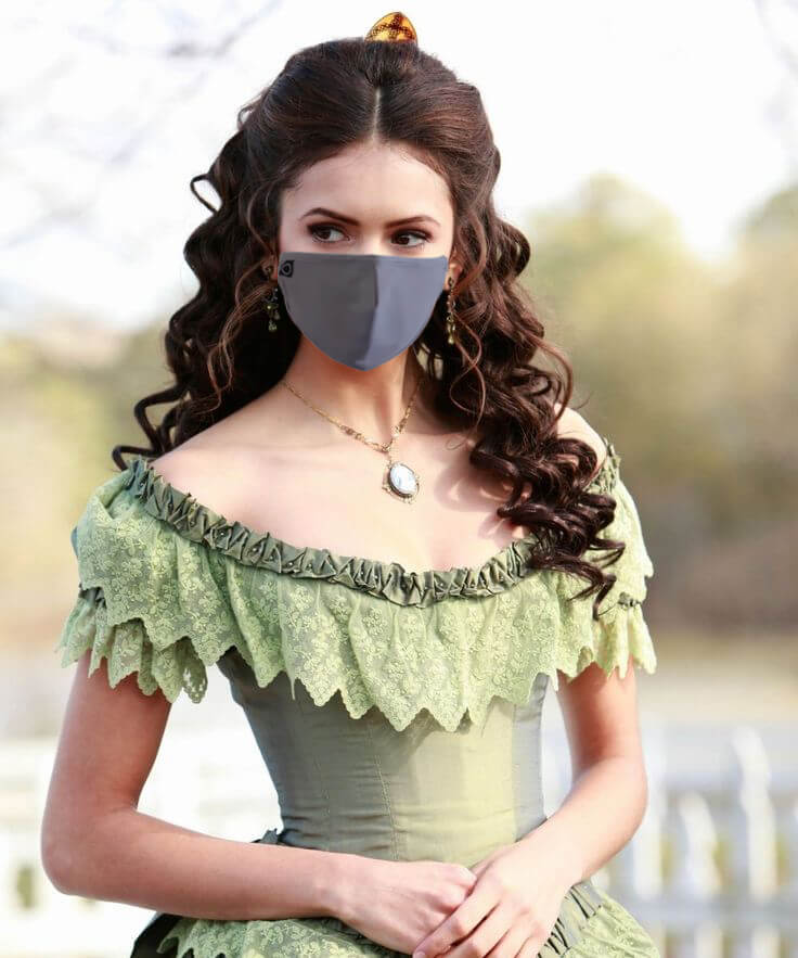 Victoria Copper - Modern Woman In Victorian Dress Attire Wearing Copper Infused Face Mask