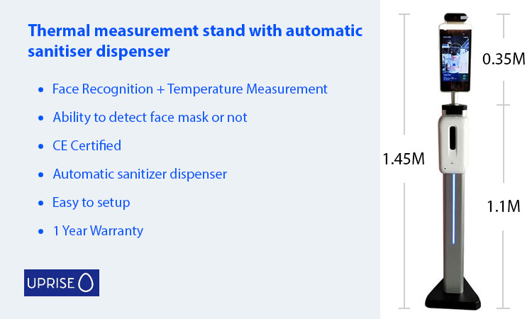 Automated thermal temperature stand with automatic hand sanitiser dispenser