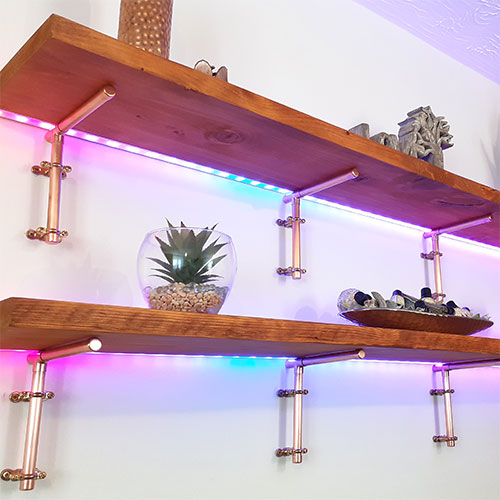 WellbeingWall by Uprise - Digital LED Strips, Copper Mounting Brackets, Refurbished Wood
