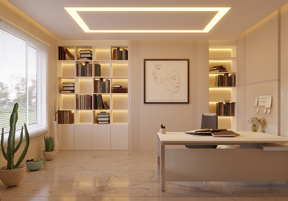3D Luxury Home Office With 2700K COB LED strip light