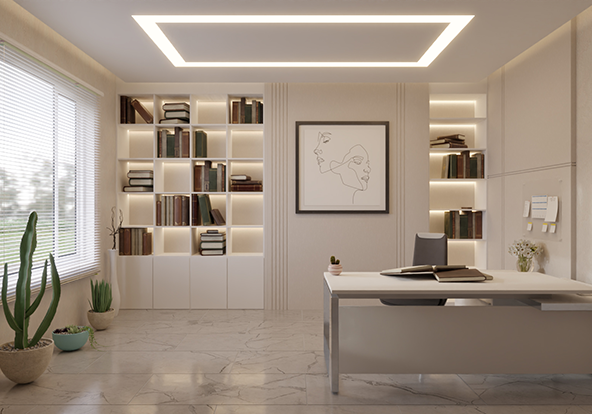 3D Luxury Home Office With 4000K COB LED strip light