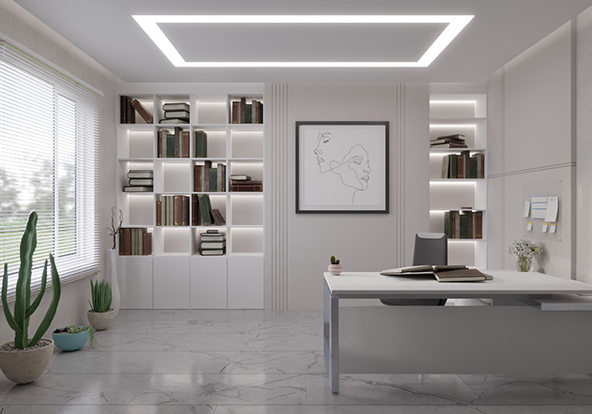 3D Luxury Home Office With 6000K-3000K COB LED strip light