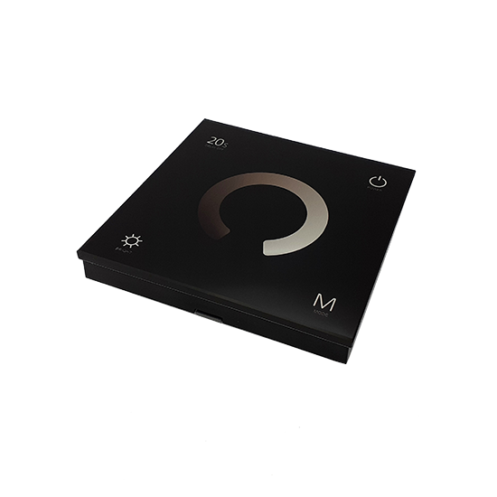 Wall mounted touch controller panel front