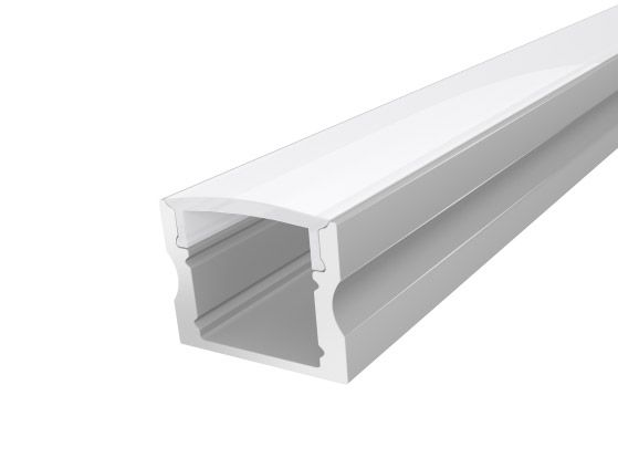 2M Deep Surface Aluminium LED Channel 17mm with a Semi Clear Cover for LED Strip Lighting finished in Silver