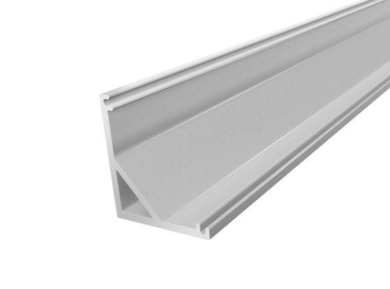 2M Slim Corner LED Profile 16mm for LED Tape Lights finished in Silver
