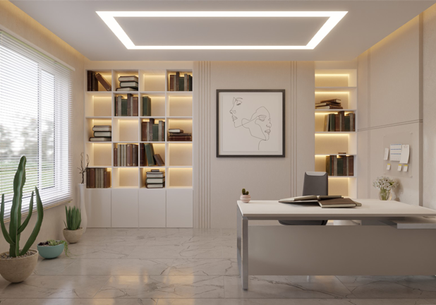 3D Luxury Home Office With 4000K-3000K COB LED strip light