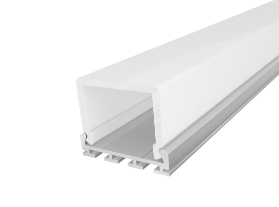 Deep Square Aluminium Extrusion 26mm Silver 2M with a Semi Diffused PC Cover for LED Tape Lights