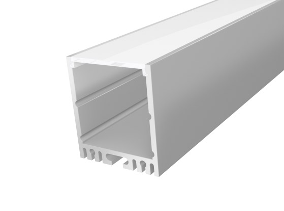 Large Square Aluminium LED Channel 35mm 1M with a Light Frosted PC Cover Silver Finish