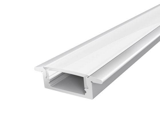 Silver Slim Recessed Aluminium Extrusion 17mm 2M with a Semi Diffused PC Cover for flexible LED Tape Lights