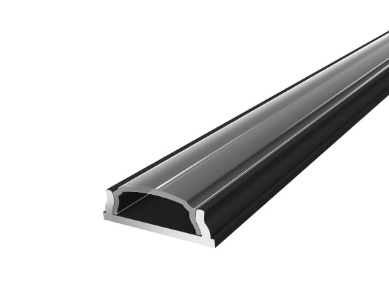 Slim Bendable Profile 18mm Black Finish & Clear Cover (2M)