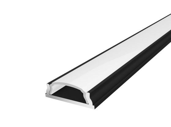Slim Bendable Profile 18mm Black Finish & Semi Clear Cover (2M)