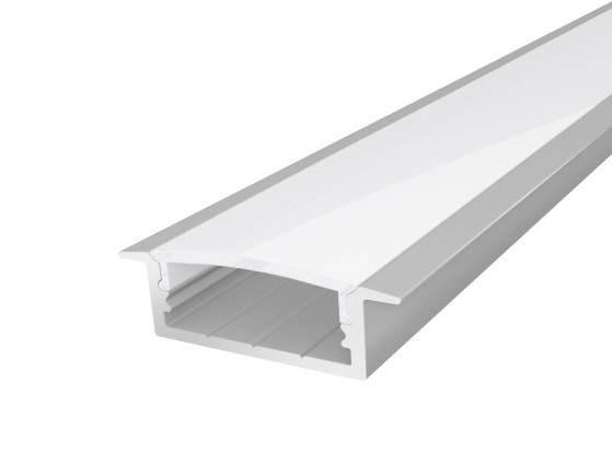 Slim Recessed Extruded Aluminium Profile 23mm Silver 2M with a Translucent PC Cover for LED Tape Lights