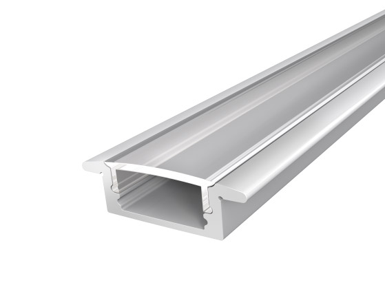 Slim Recessed LED Profile 17mm 2M with a Clear PC Cover For LED Strip Lighting Silver Finish