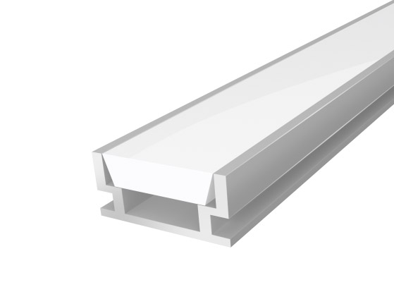 Walkover LED Aluminium 18mm 2M with a Semi Clear Glass Diffuser Silver Finish (IP65)