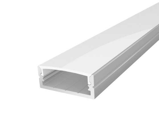 Wide Surface Mounted LED Channel 24mm 2M with a Semi Clear Diffuser Silver Finish