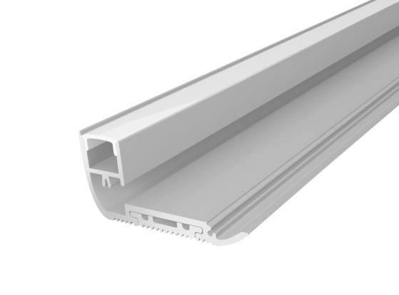 1M Silver Stair Nosing Aluminium 65mm with a Semi Clear Diffuser For LED Tape Lights