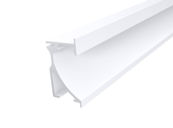 Skirting Profile 70mm White Finish & Opal Cover (1M)