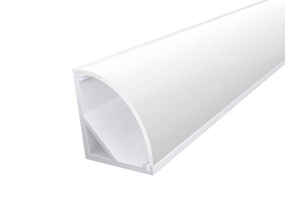 Slim Corner Profile 16mm White Finish & Opal Cover (1M)