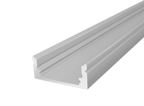 1M Slim Oval LED Channel 17mm for LED Tape Lights Silver Finish