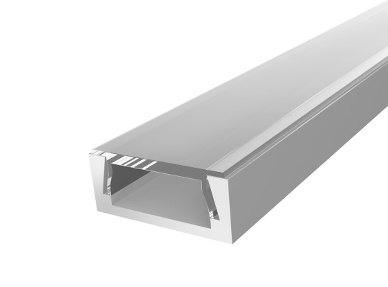 Slim Surface Profile 15mm Silver Finish & Clear Cover (1M)