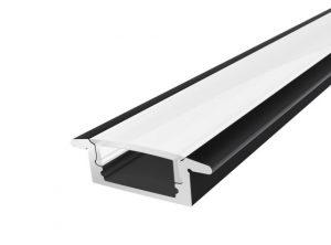 Slim Recessed Profile 17mm Black Finish & Semi Clear Cover (1M)