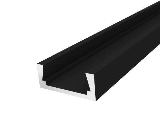 Slim Surface Profile 15mm Black Finish & Clear Cover (1M)