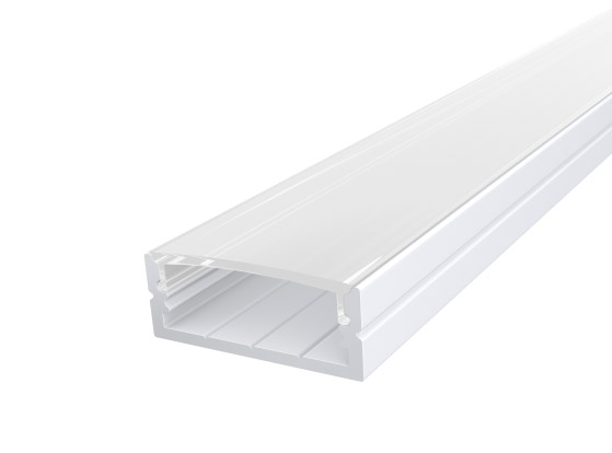 Wide Surface Profile 24mm White Finish & Clear Cover (1M)