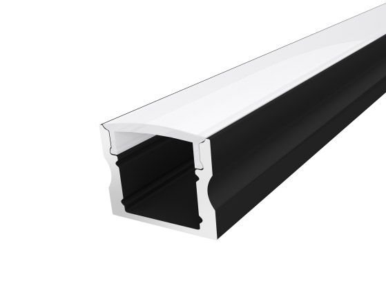 Deep Surface Profile 17mm Black Finish & Semi Clear Cover (2M)