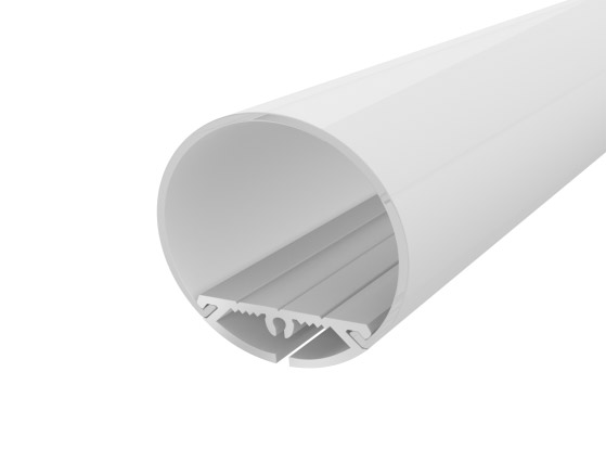 Rounded Profile 30mm Silver Finish & Semi Clear Diffuser (2M)