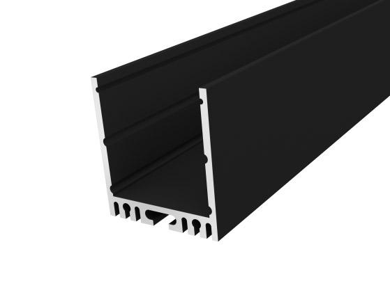 Large Square Profile 35mm Black Finish & Semi Clear Cover (2M)