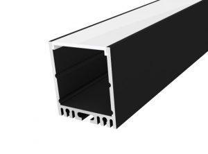 Large Square Profile 35mm Black Finish & Opal Cover (2M)