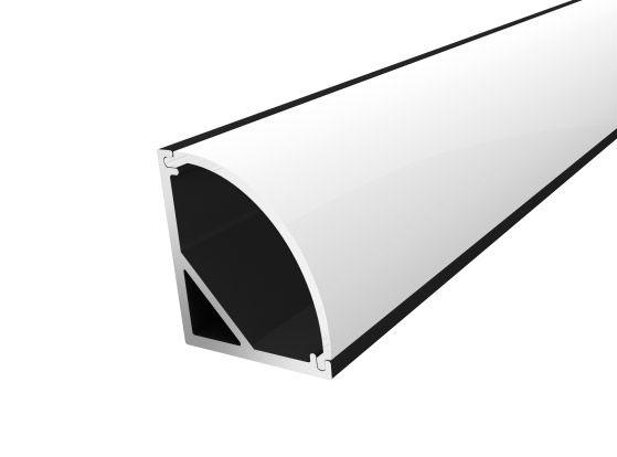Slim Corner Profile 16mm Black Finish & Opal Cover (2M)