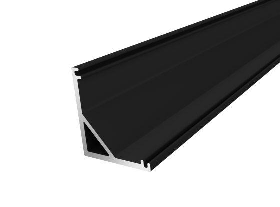 Slim Corner Profile 16mm Black Finish & Clear Cover (2M)