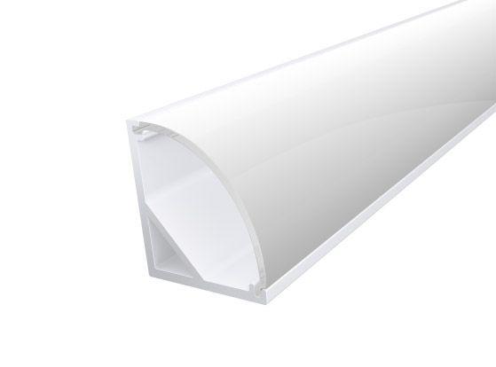 Slim Corner Profile 16mm White Finish & Semi Clear Cover (2M)