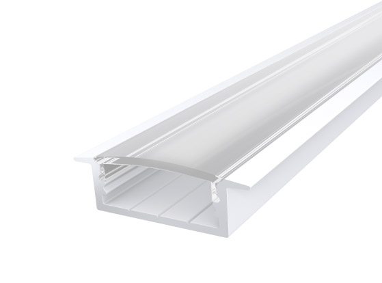 Slim Recessed Profile 23mm White Finish & Clear Cover (2M)