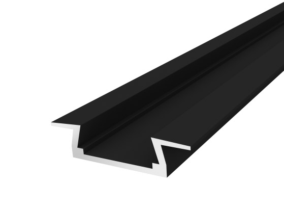Slim Recessed Profile 15mm Black Finish & Opal Cover (2M)