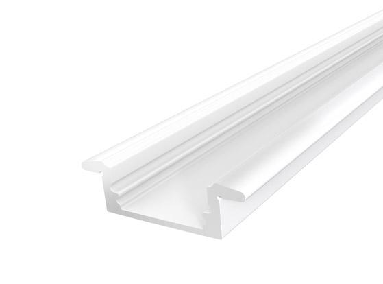 Slim Recessed Profile 17mm White Finish & Semi Clear Cover (2M)