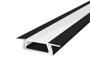 Slim Recessed Profile 15mm Black Finish & Semi Clear Cover (2M)