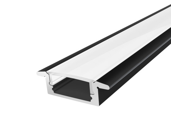 Slim Recessed Profile 17 mm Black Finish & Semi Clear Cover (2M)