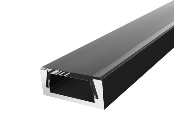 Slim Surface Profile 15mm Black Finish & Clear Cover (2M)