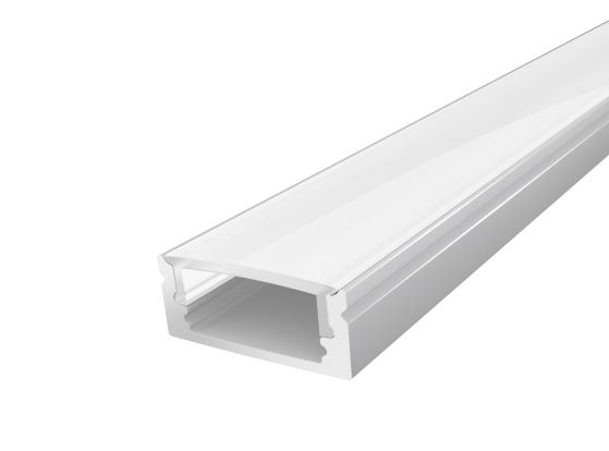 2M Slim Surface Mounted Aluminium Profile 17mm with a Semi Clear Diffuser Silver Finish