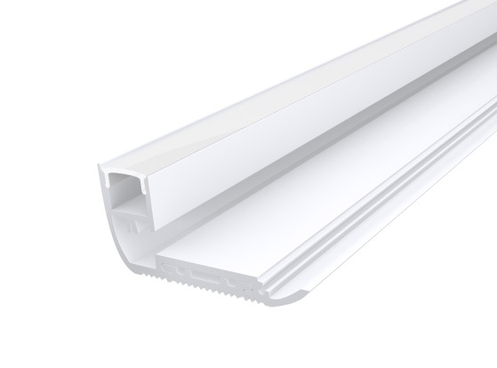 Stair Nosing Profile 65mm White Finish & Opal Cover (2M)