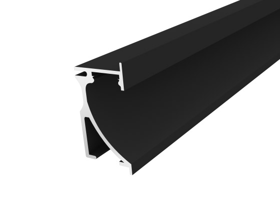 Skirting Profile 70mm Black Finish & Clear Cover (2M)