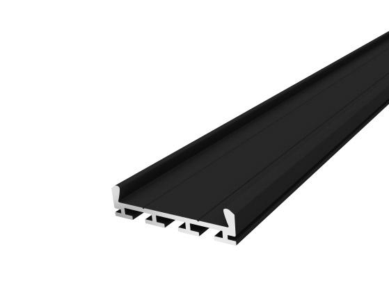 Deep Square Profile 26mm Black Finish & Clear Cover (2M)