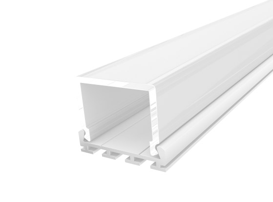 Deep Square Profile 26mm White Finish & Clear Cover (1M)