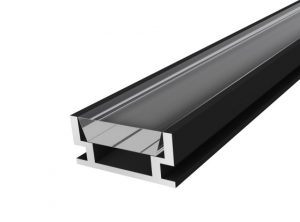 IP65 Walkover Profile 19mm Black Finish & Clear Cover (1M)