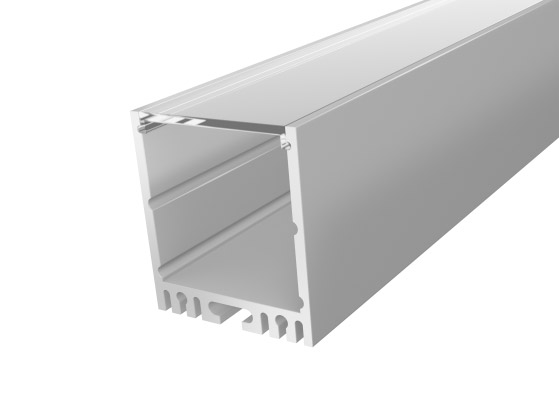 Large Square Profile 35mm Silver Finish & Clear Cover (1M)