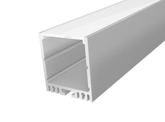 Large Square Profile 35mm Silver Finish & Semi Clear Cover (2M)