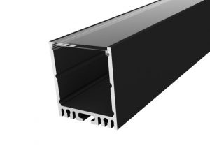Large Square Profile 35mm Black Finish & Clear Cover (1M)